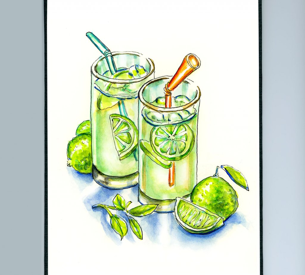 Day 9 - Limeade Limes Watercolor Illustration_IG