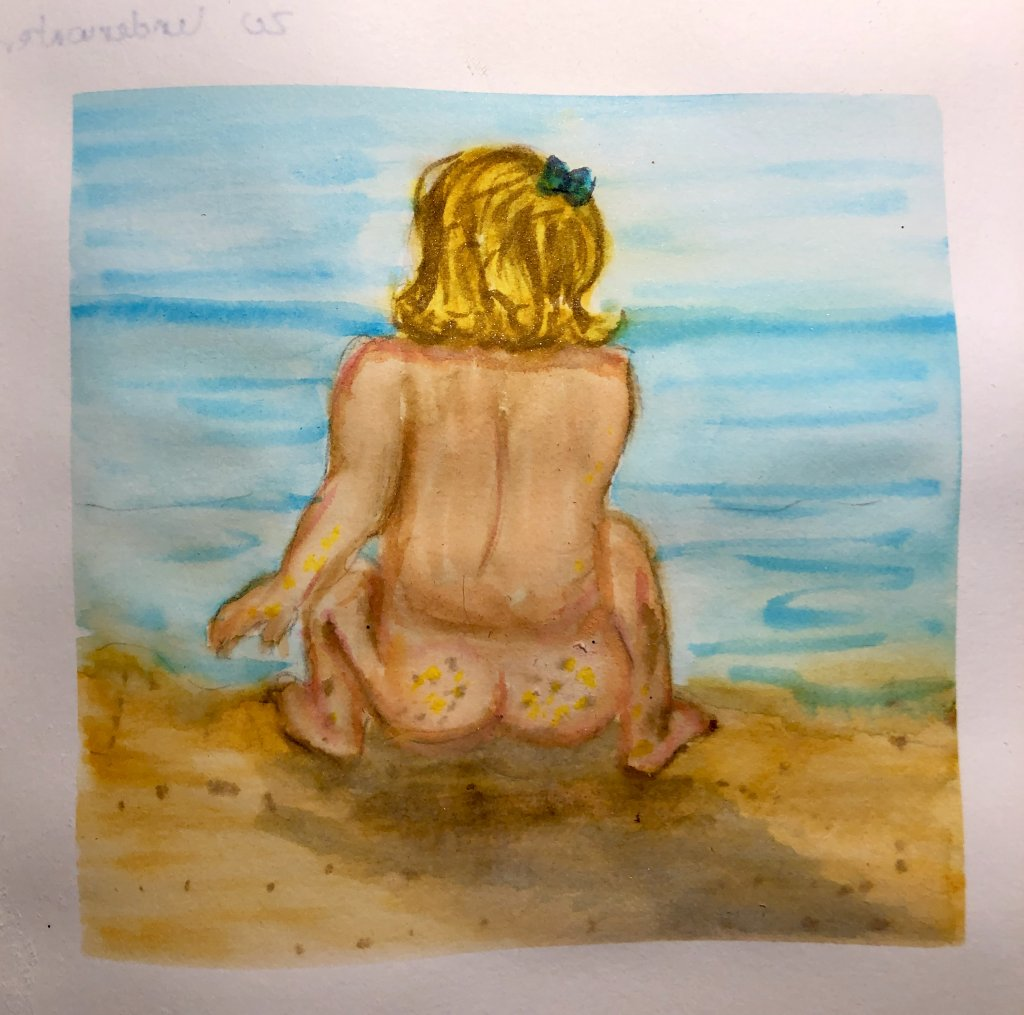 #doodlewashJune2019 #FunintheSunWatercolorChallenge2019 Day 19: Sand The first thing that came to mi