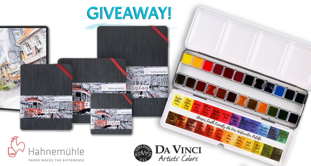 Hahnemühle ZigZag & Da Vinci Watercolors June 2019 Giveaway Sharing Image