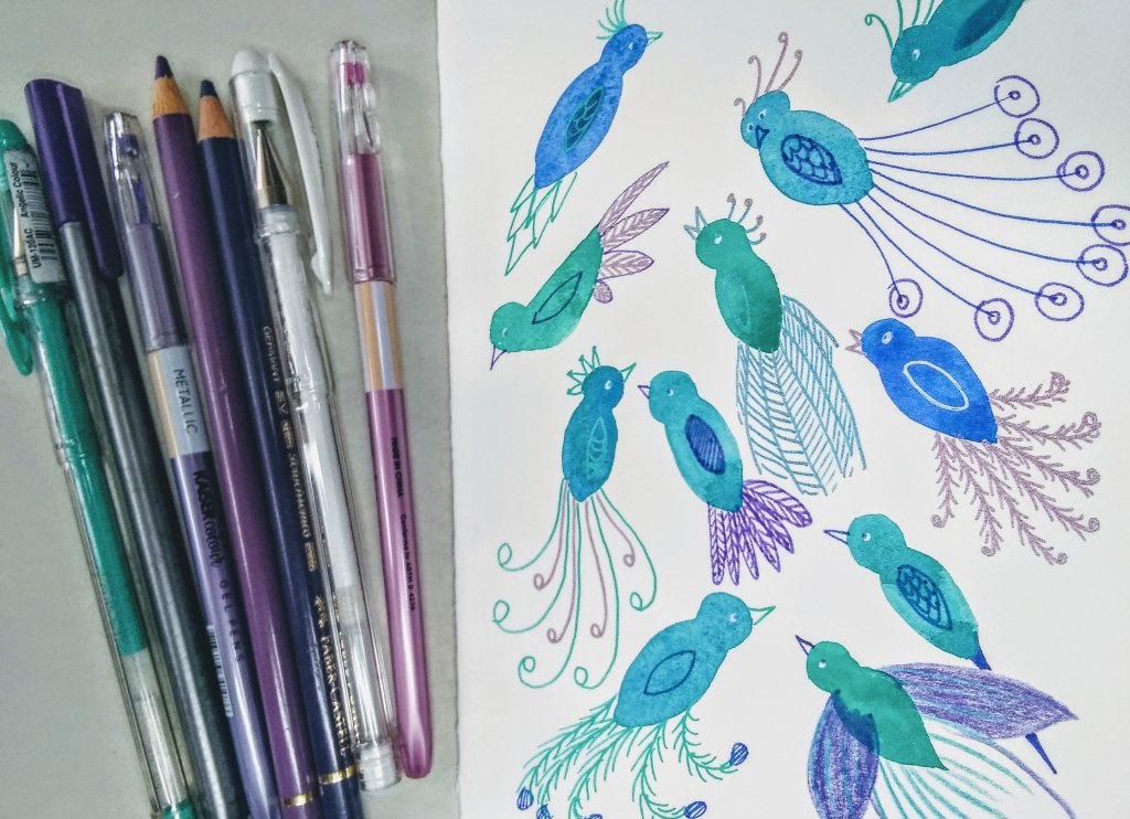 Turning Watercolor Blobs of Paint into Bird Designs