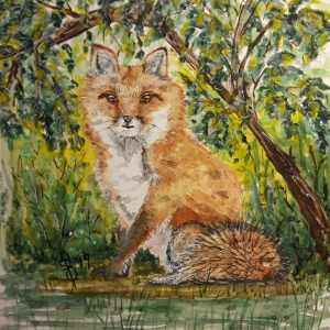 """""""Who's There?"""" Artist Susan Feniak. QoR watercolor and ink on Fabriano paper IMG_2"""