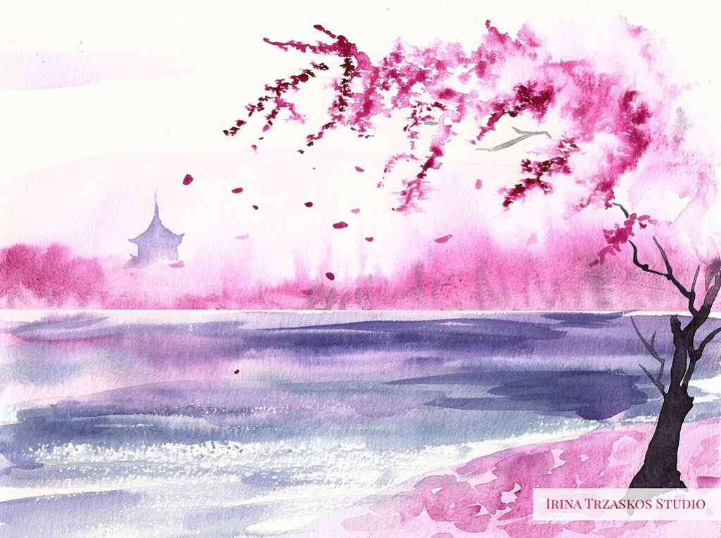 Pink Landscape Watercolor Painting by Irina Trzaskos - Doodlewash