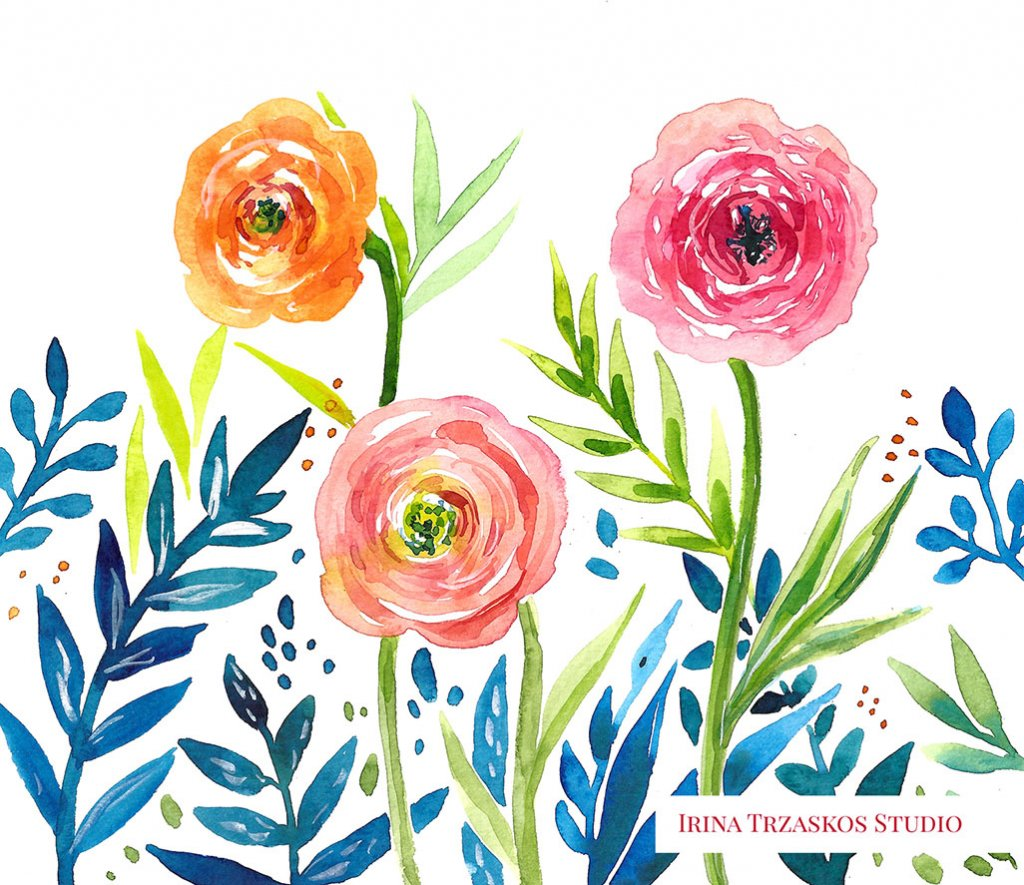 Floral Pattern Watercolor Painting by Irina Trzaskos - Doodlewash