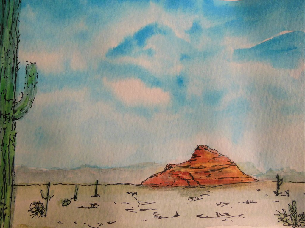 Blue skies in the Sonoran desert. Sakura Koi watercolor on moleskin watercolor paper.June challenge