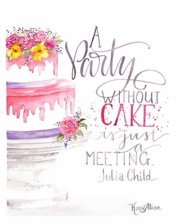 Party Cake Watercolor Painting by Kari Alisa Watson - Doodlewash