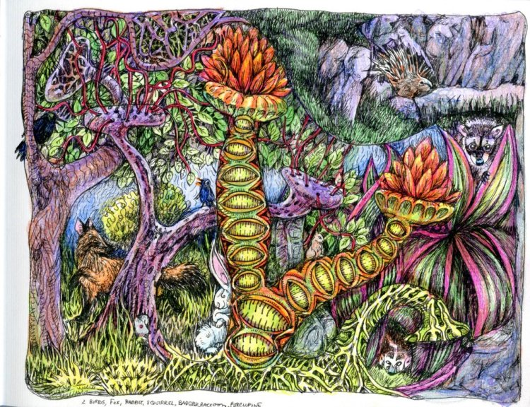 I finally got around to coloring my drawing done in a Paperblanks Grolier Ornamentali guestbook. Don