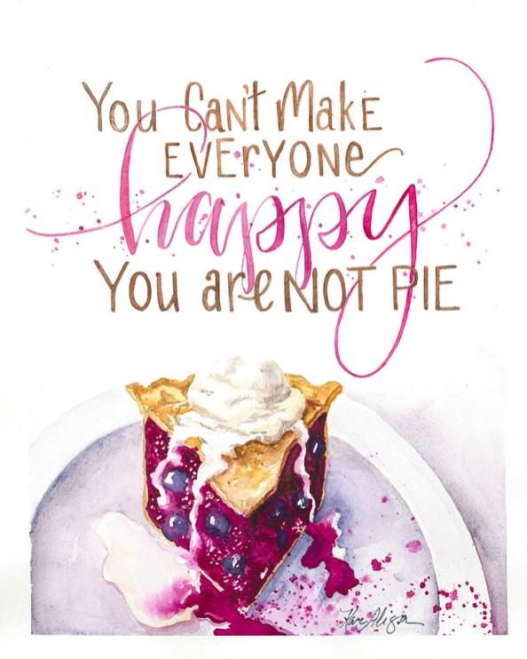 You'e Not Pie Watercolor Painting by Kari Alisa Watson - Doodlewash