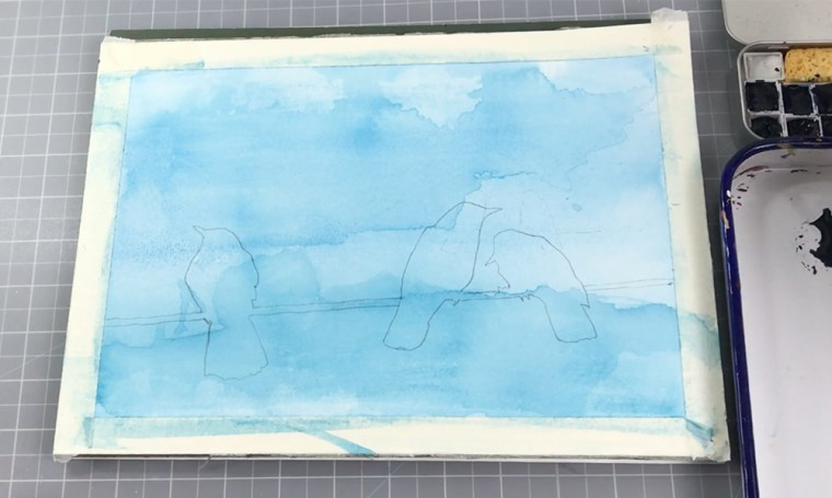 Drawing silhouette on a watercolor background