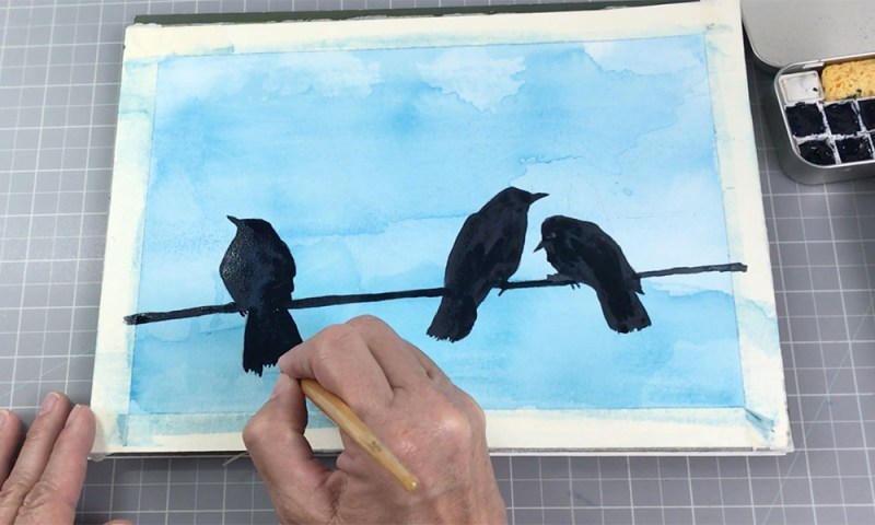Bird silhouettes on wire watercolor blue sky