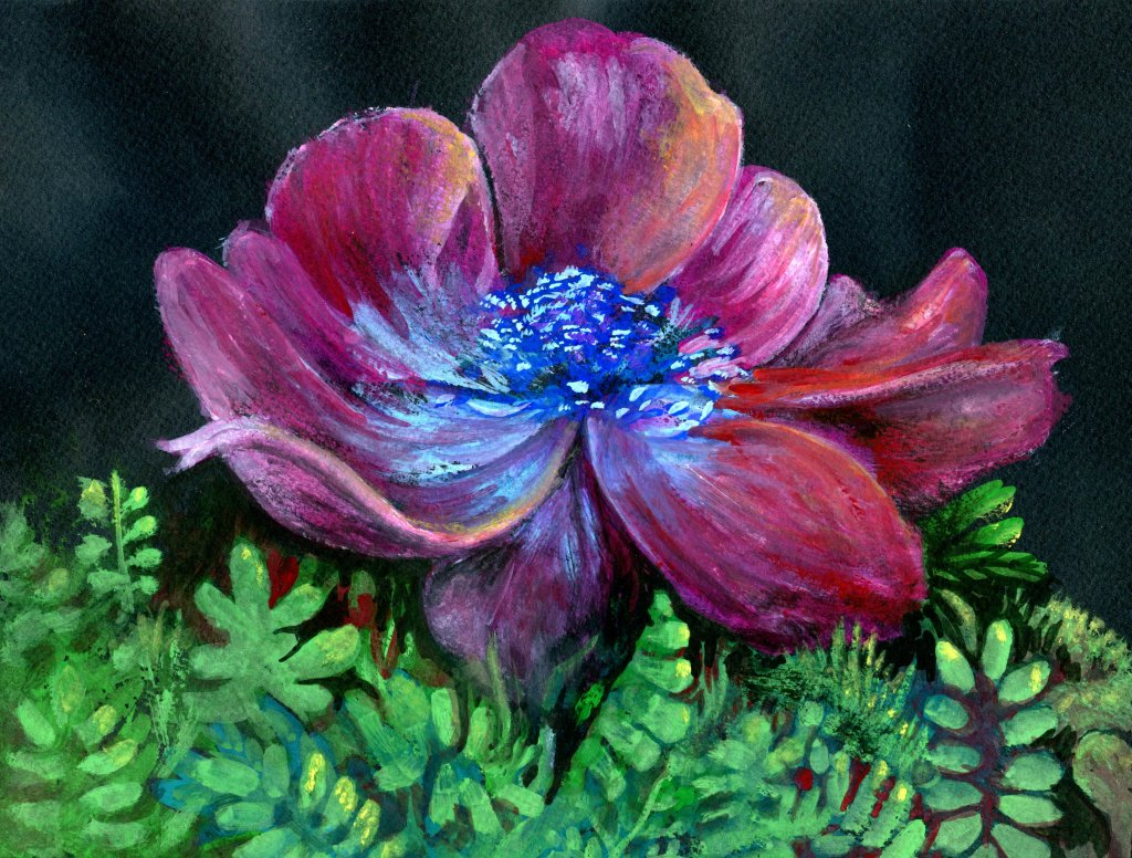 Gouache painting of flower on Stonehenge black watercolor paper