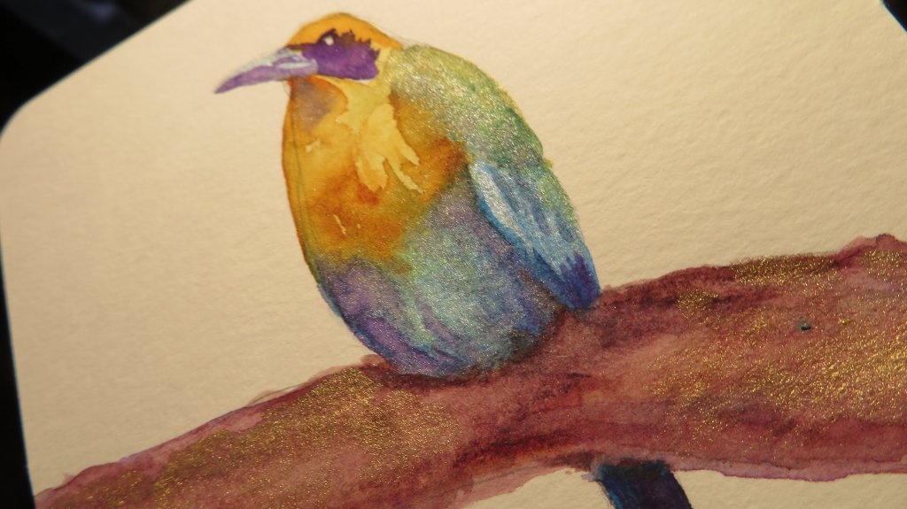 Iridescent watercolors example bird painting