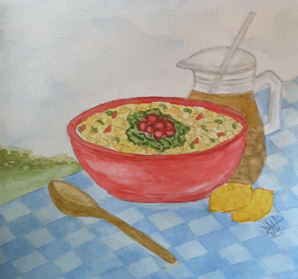 "Day 3 ""Picnic Food"" #WorldWatercolorMonth #WorldWatercolorGroup #doodlewash2019 Winsor N"