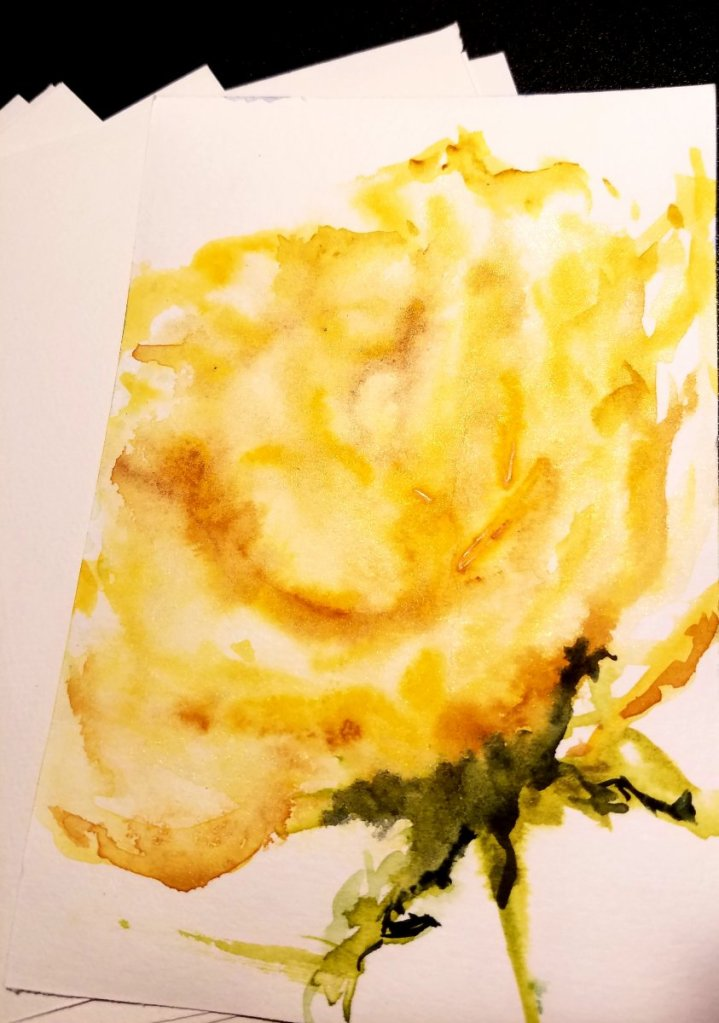 Fun loose yellow rose inspired by Angels Fehr tutorial on youtube getting loose Wet into Wet 2019071