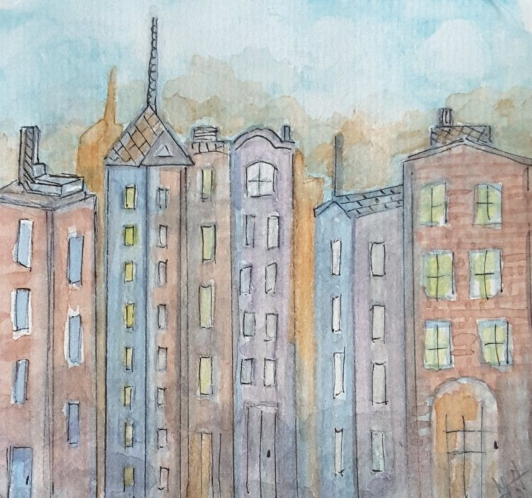 "Day 20 ""Buildings"" #WorldWatercolorMonth #WorldWatercolorGroup #SketchingStuff2019 #dood"