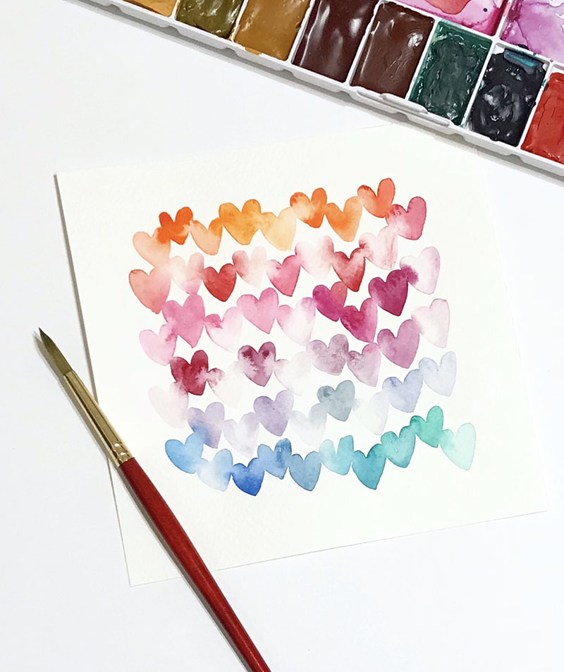 Heart Pattern - Shelly Kim Watercolor Lettering - Letters by Shell - Doodlewash