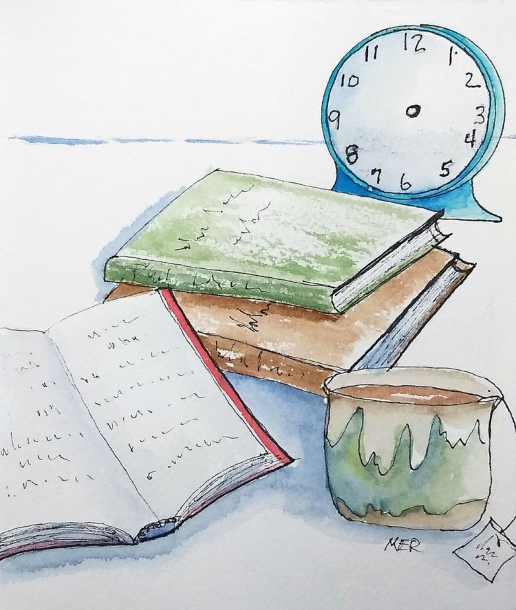 7/16/19 Relaxing A pile of books, cup of tea and a clock that couldn't tell time. #worldwaterc