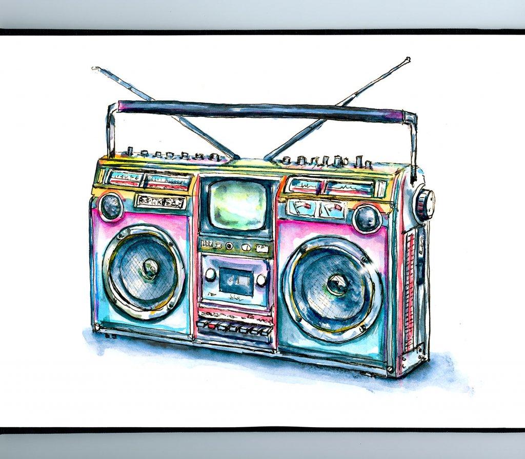 80s Boombox Color Illustration Sketchbook Detail