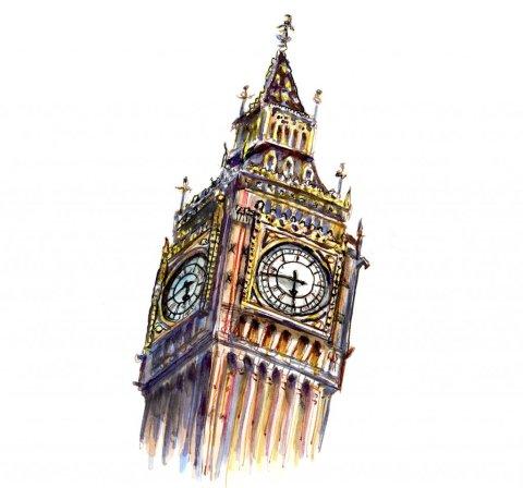 Big Ben Watercolor Illustration