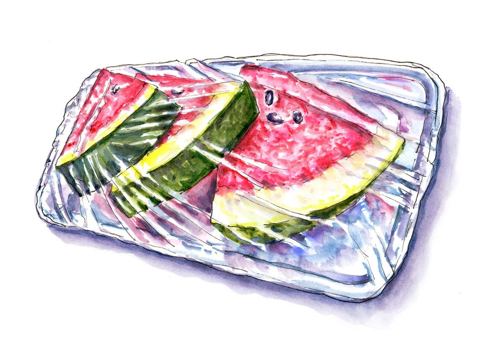 Watermelon Grocery Store Watercolor Illustration