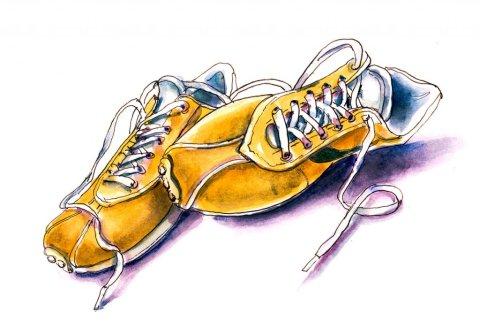Yellow Orange Sneakers Watercolor Illustration