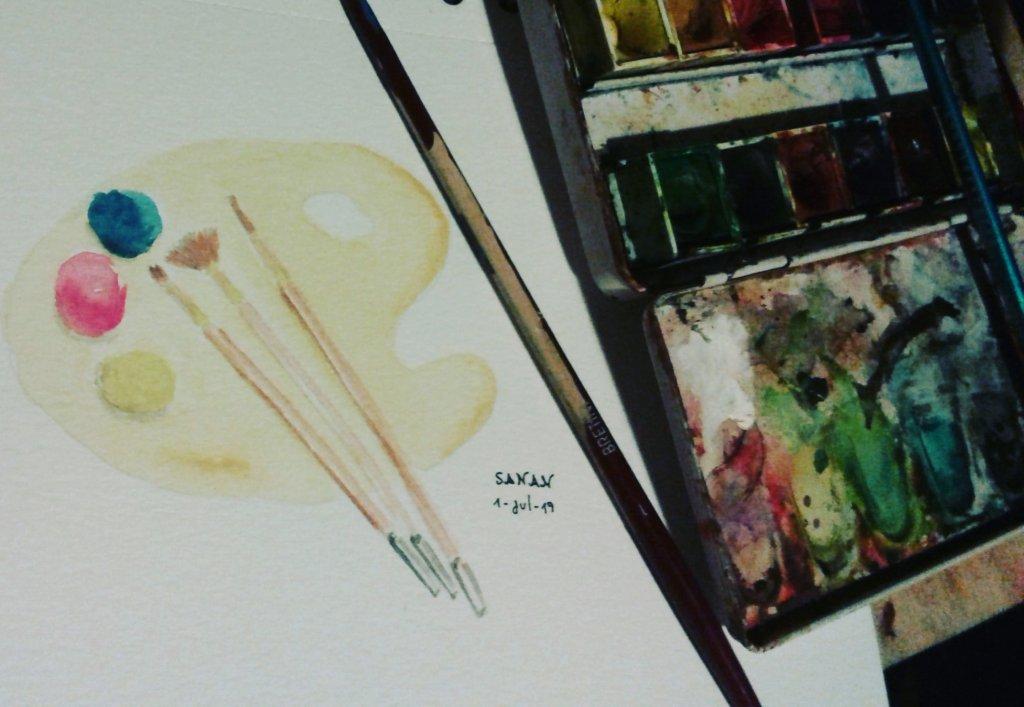 Primary palette – dia 1 #wordwatercolormonth #worldwatercolorgroup #doodlewash #arte_sanan #ar