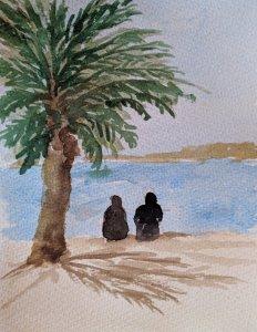 #worldwatercolormonth; day 23: Beach Fun: Two ladies enjoy the beach at Aquaba, Jordan IMG_20190723_