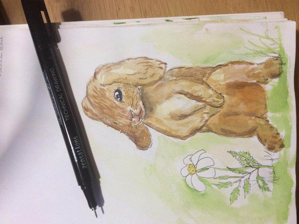 Happy Floppy Eared Bunny/ World Watercolor Month #day8catchup #WorldWatercolorMonth #worldwatercolor