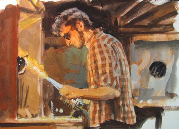 Glass Blower Gouache Illustration James Gurney