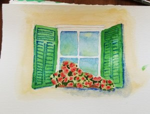 #worldwatercolormonth #worldwatercolorgroup #doodlewash Day 6 – window view July 06-window vie