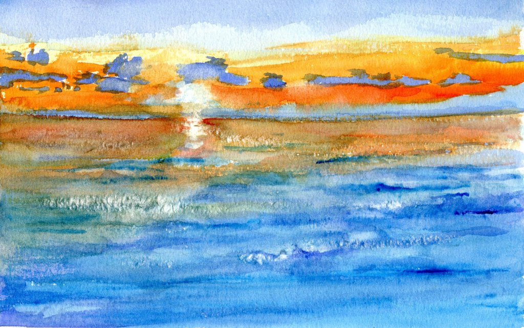 watercolor sunset painted by Sandra Strait with travel brushes