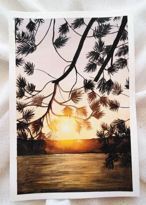 Nesrine Ziadi watercolor Bright Sunset Doodlewash