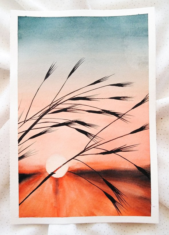 Nesrine Ziadi watercolor Sunset wheat Doodlewash
