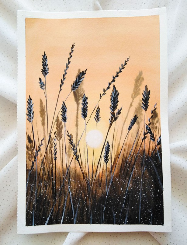 Nesrine Ziadi watercolor wheat Doodlewash