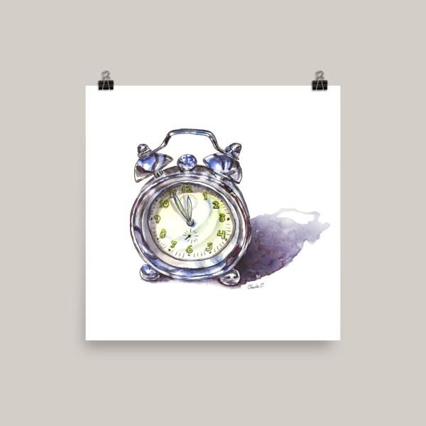 Silver Alarm Clock Watercolor Print Doodlewash
