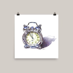 Silver Alarm Clock Watercolor Print Doodlewash
