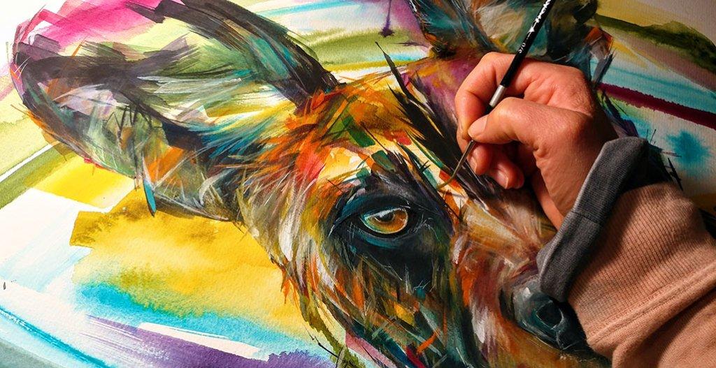 Wild Dog Work In Progress Watercolor by Sarah Janece Garcia