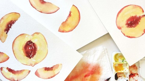 Watercolor Peaches by Susan Chiang - Doodlewash