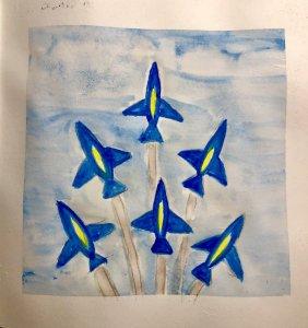 #doodlewashAugust2019 #TravelFun #WorldWatercolorGroup Day 9: Plane Blue Angels Pensacola, Florida.