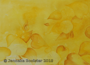 After red and orange I painted yellow. This time I made my background first and added the hawkweed f