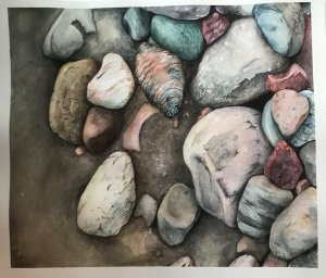 This watercolour piece was inspired by a nature walk along the beach. I saw a pile of rocks and took