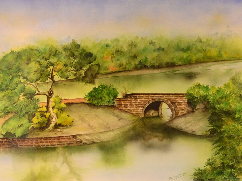 Bridge Water Landscape Painting Jerson Antao