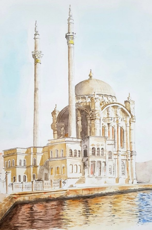 Building and Watercolor Watercolor Painting by Emaan Imtiaz