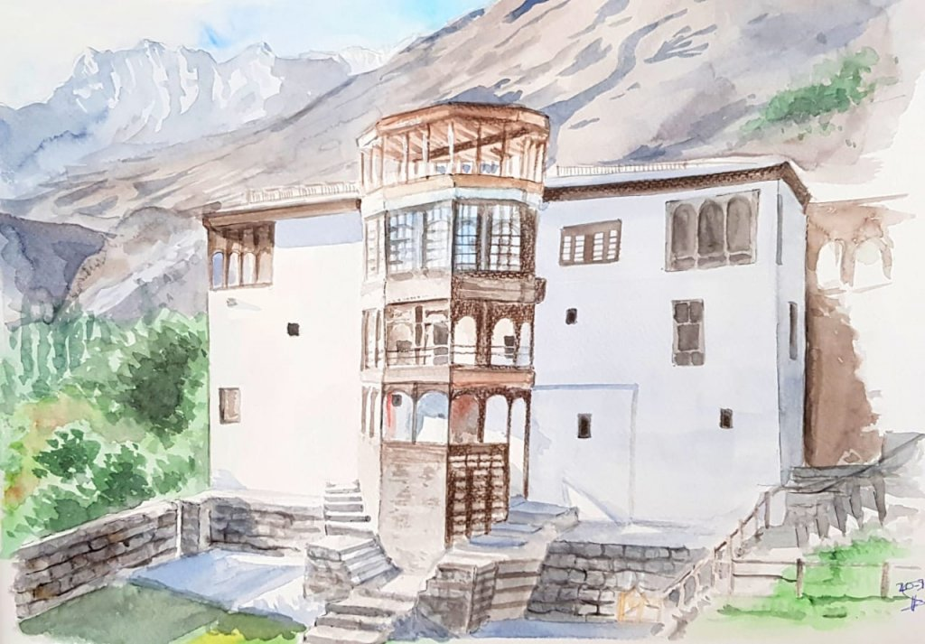 Building in the Mountains Watercolor Painting by Emaan Imtiaz