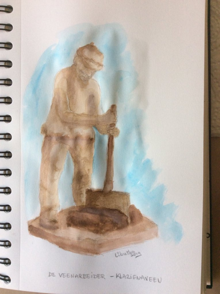 # DoodlewashAugust2019 prompt 6 Monument: The Peat worker. A monument in a village that symbolizes t