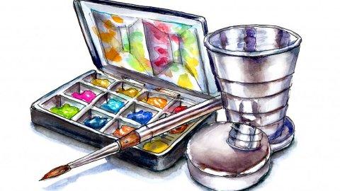 Travel Watercolor Palette Illustration