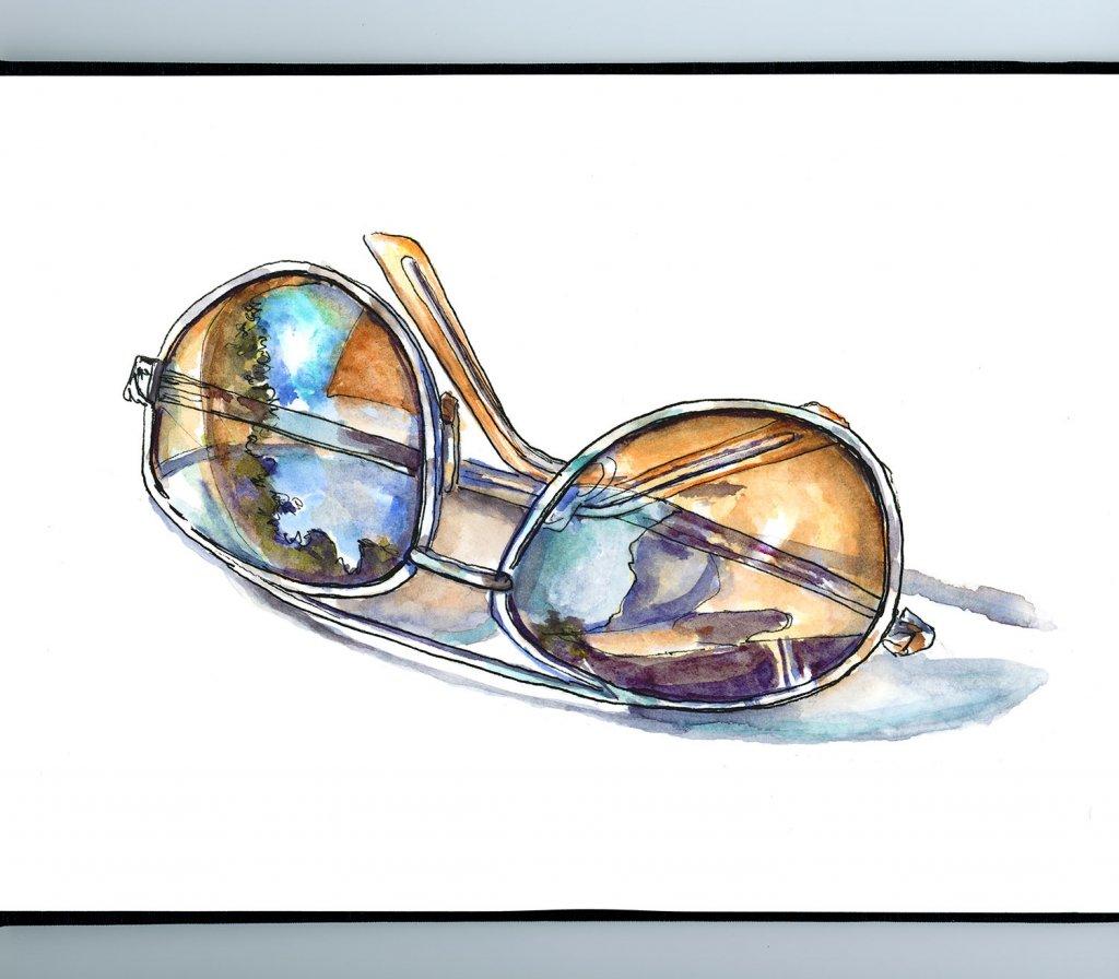 Sunglasses Watercolor Illustration Sketchbook Detail