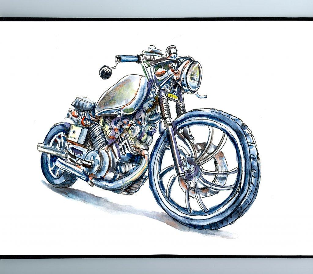 Vintage Motorcycle Watercolor Illustration Sketchbook Detail