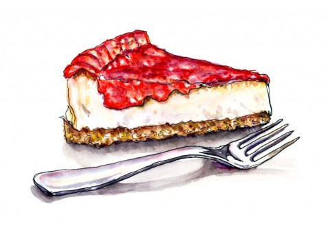 Strawberry Cheesecake Watercolor Illustration