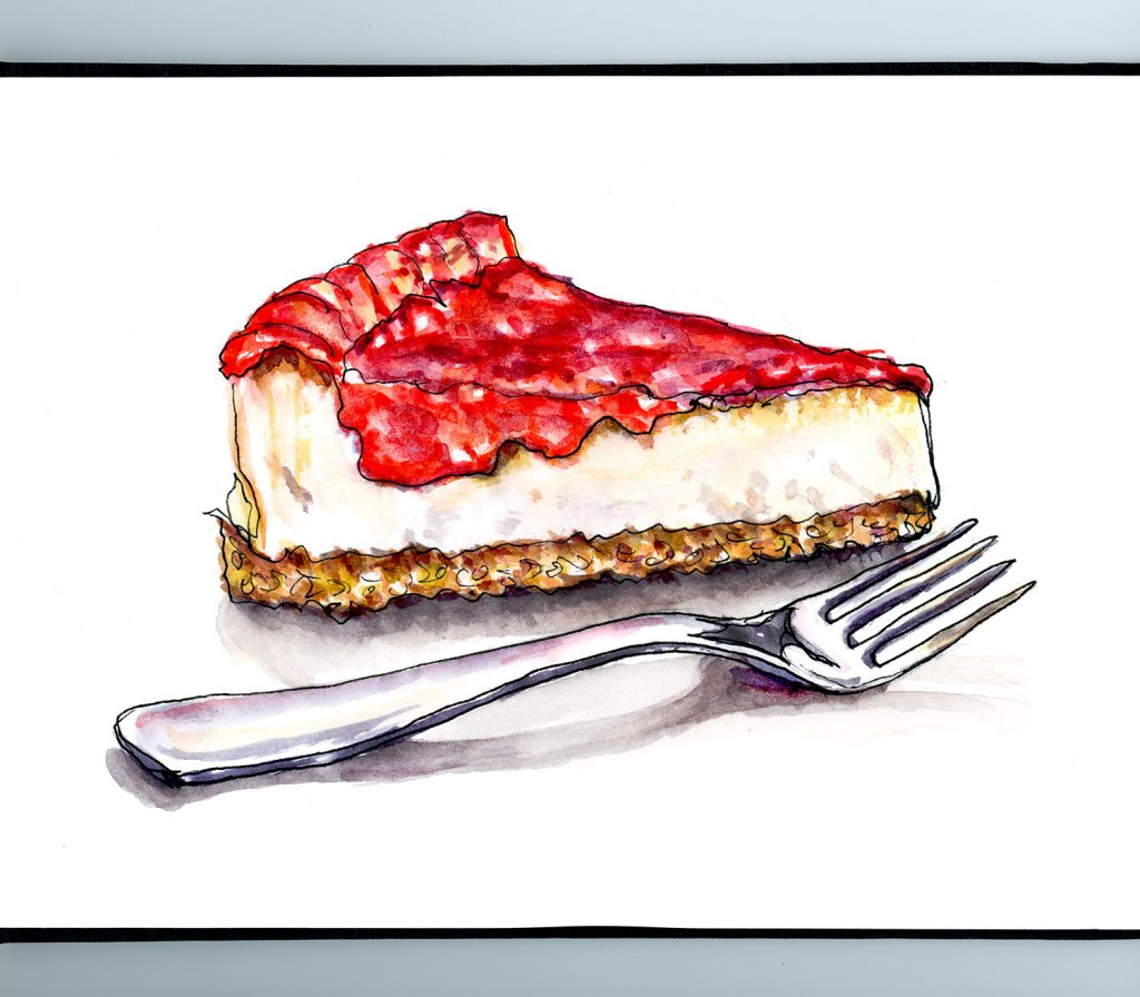 Strawberry Cheesecake Watercolor Illustration Sketchbook Detail