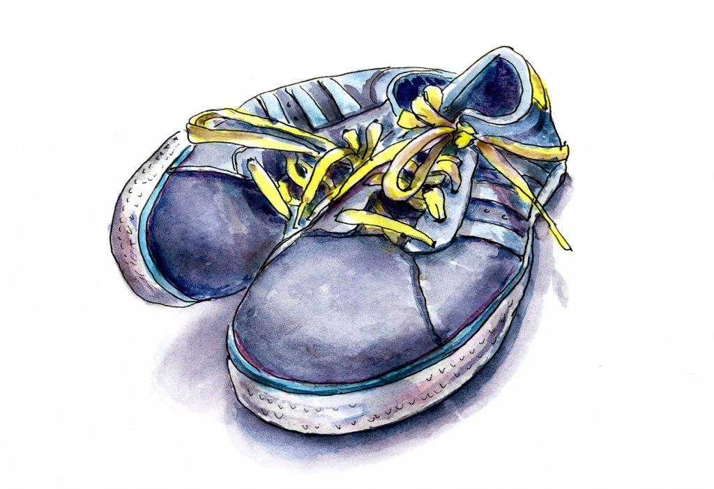 Tennis Shoes Watercolor Illustration